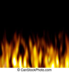 Hot Orange Flames over black - Hot firey flames over a black...
