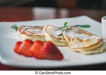 Hot pancake with strawberry and sauce - fritters of cottage cheese, taste breakfast, macro