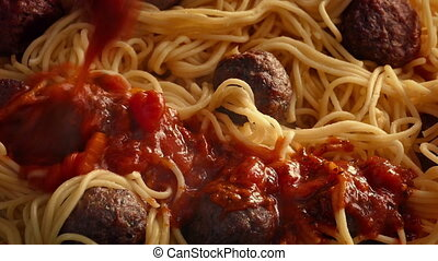 Hot Pasta Sauce Poured On Spaghetti And Meatballs - Steaming...