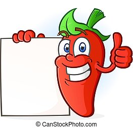 Hot Pepper Cartoon Character Holding a Sign