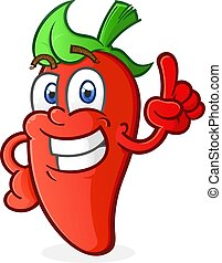 Hot Pepper Cartoon Character Pointing