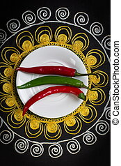 Hot pepper on a plate.