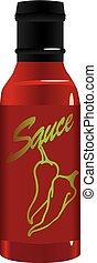 Hot pepper sauce in a glass bottle