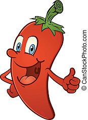 A happy smiling hot chili pepper cartoon character giving the thumbs up of approval