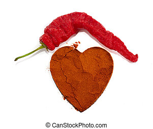 hot pepper with paprika heart