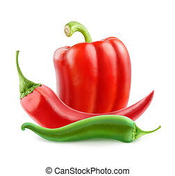 Hot peppers and bell pepper isolated on white