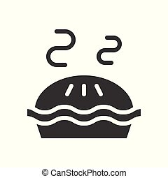 Hot pie, bakery and pastry set, glyph icon