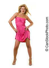 Hot pink dress - Full body of an attractive blond woman...