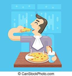Hot Pizza Man Eat Symbol Icon Concept on Stylish Background Flat Design Vector Illustration