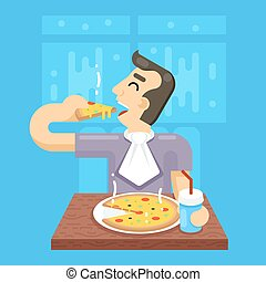 Hot Pizza Man Eat Symbol Icon Concept on Stylish Background Flat Design Vector Illustration