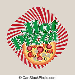hot pizza over beige background vector illustration
