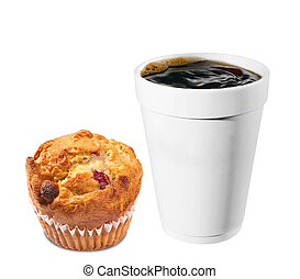 hot plastic coffe cup with chip muffin