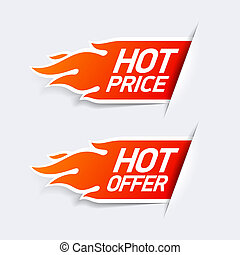 Hot price and hot offer symbols illustration