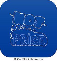 Hot price icon blue vector
