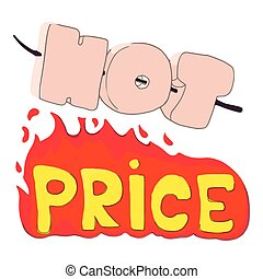 Hot price icon, cartoon style