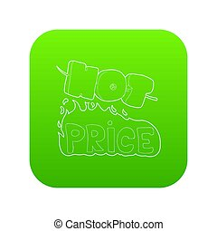 Hot price icon green