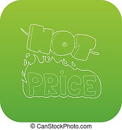 Hot price icon green vector