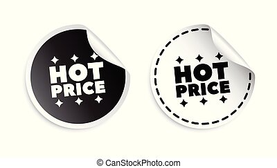 Hot price sticker. Black and white vector illustration.