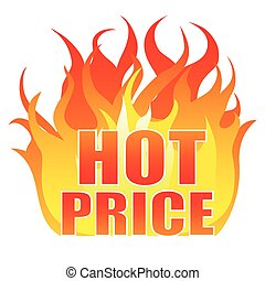 Hot price sticker, logo, label, sign