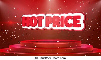 Hot Price Text Animation Stage Podium Confetti Loop Animation
