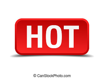 Hot red 3d square button on white background