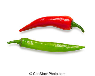 Hot red and green pepper isolated on a white background