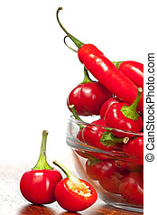 Hot red chili pepper in glass bowl