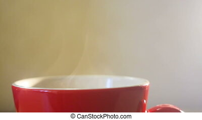 hot red cup of coffee