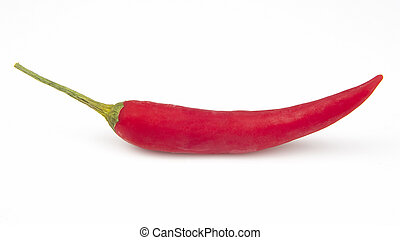 Hot red fresh pepper on a white background