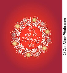 Hot red label with Christmas decorative floral wreath for winter sale