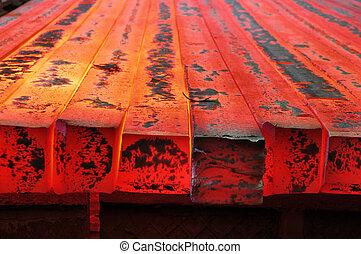 hot red metal blank billet - hot red solid metal blank...