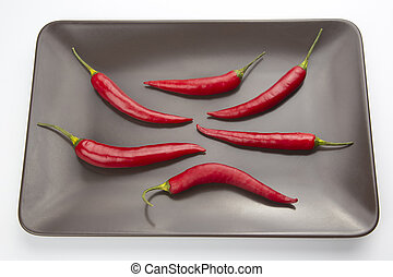 Hot red pepper on a gray plate