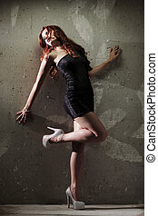Hot redhead girl - Fashion sensual portrait of young sexy ...