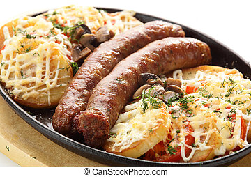 roasted sausages with potato