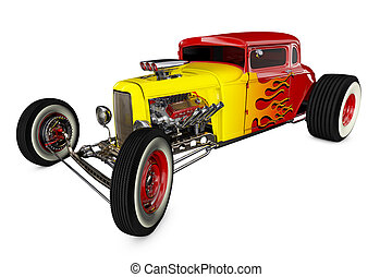 Hot Rod 3D render - Hot Rod Sports car. Isolated on white ...