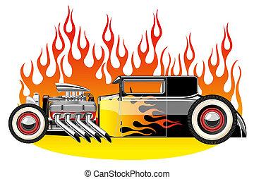 A vector illustration of a vintage hot rod. Gradient mash