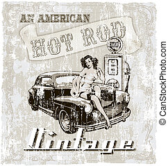 hot rod american - crack illustration for shirt printed and...