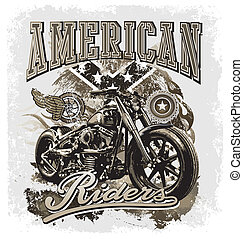 hot rod motorcycle vector for T-shirt printed and poster