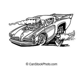 hot-rod, classico, isolato, automobili, fondo., vettore, disegno, illustrazione, cartone animato, retro
