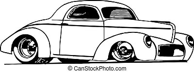 Hot Rod Coupe - Line drawing of Hot Rod