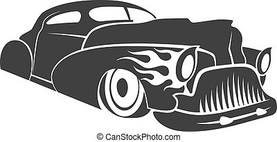 Hot rod low rider coupe vector illustration - Old custom car...