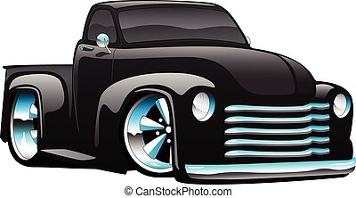 Classic vintage hot rod American muscle pick-up truck cartoon illustration, big rims and tires, shiny paint, lots of chrome.