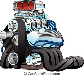 Hot Rod Race Car Engine Cartoon Vector Illustration