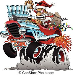 Funny Santa Claus, driving a classic old hotrod car, popping a wheelie, huge chrome engine, flames from exhaust, big tires, toy sack in the rumble seat, funny expression, racing to get the toys to all the good boys and girls, highly detailed full color isolated vector illustration.