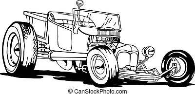 Hot Rod T-Bucket - vector, Old hot rod nostalgia, 50's cars,...
