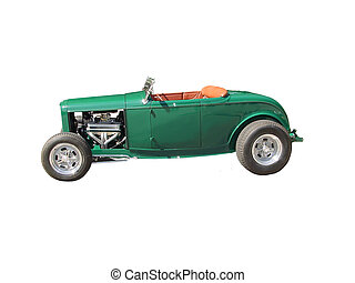 This is a picture of a green 1930s convertible made into a hot rod, it is isolated on white.
