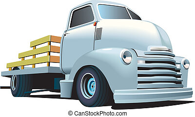 Hot Rod Truck - Vectorial image of vintage truck, isolated...