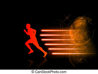 hot runner - red silhouette of runner with the hot rays