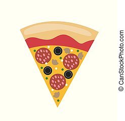 Hot Salami pizza slice vector illustration