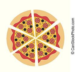 Hot Salami pizza vector illustration